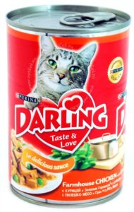 консервы для кошек дарлинг с курицей и зеленым горошком